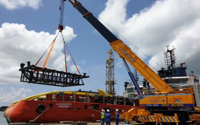 AMEC Wood Unloading of New Boat Landing at Muara Port 2019